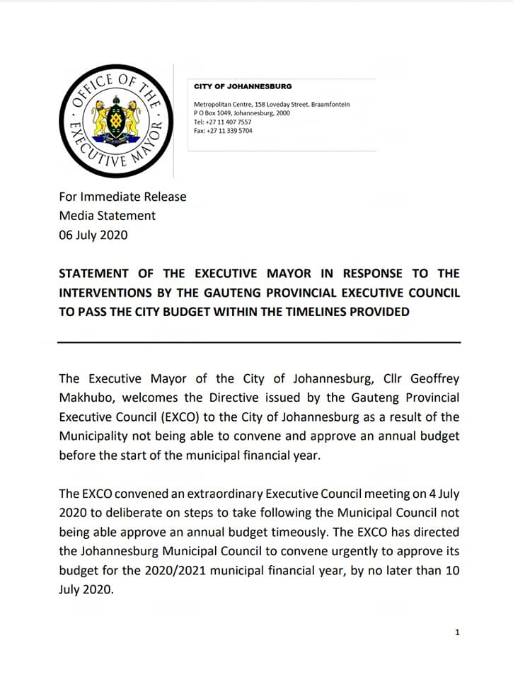 COJ to approve budget by Friday 10 July